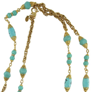 By Phillippe Paris for Harlequin Market Gold Tone Chain Necklace with Faux Antique Turquoise Glass Beads Necklace