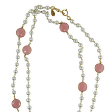 Load image into Gallery viewer, By Phillippe Paris for Harlequin Market Gold Tone Chain Necklace with Faux Pearls & Vintage Pastel Pink Beads Necklace