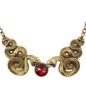 RARE & Collectible Vintage Joseff of Hollywood Coiled Snake-Serpent, Ruby Red Cabochon Necklace c. 1950