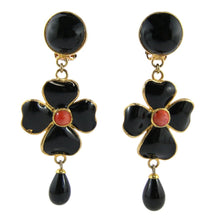 Load image into Gallery viewer, Statement Pate-de-verre (hand-poured-glass) delicate black flower drop (clip-on) earrings
