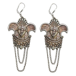 French Vintage Silver Tone Egyptian Revival Figural Pharaoh Drop Earrings c. 1930 (Pierced)