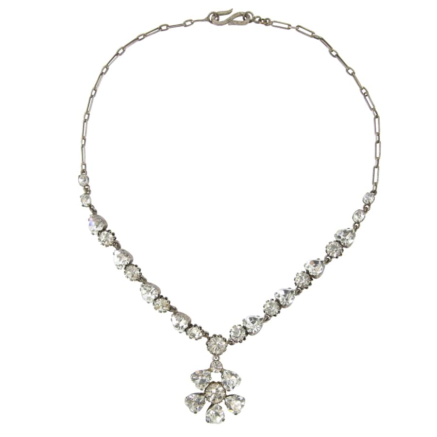 Delicate French Vintage Clear Crystal Flower Necklace c.1940s