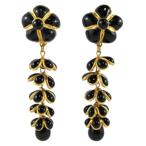 Stunning Unique Statement Pate-de-verre (hand-poured-glass) delicate black & gold flower & leaf drop (clip-on) earrings