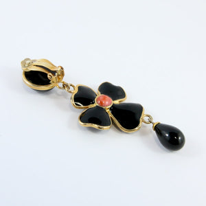 Statement Pate-de-verre (hand-poured-glass) delicate black flower drop (clip-on) earrings
