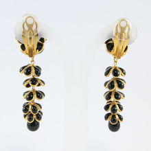 Load image into Gallery viewer, Stunning Unique Statement Pate-de-verre (hand-poured-glass) delicate black & gold flower & leaf drop (clip-on) earrings