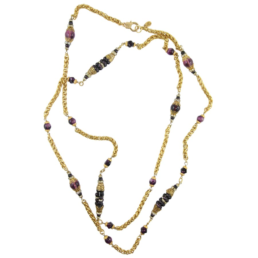 By Phillippe Paris for Harlequin Market Gold Tone Chain Necklace with Burgundy Vintage Beads