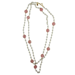 By Phillippe Paris for Harlequin Market Gold Tone Chain Necklace with Faux Pearls & Vintage Pastel Pink Beads Necklace