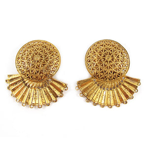 French Vintage Signed Zoe Coste Gold Plated Filigree Fan Clip-on Earrings c. 1980's