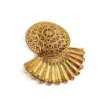 Load image into Gallery viewer, French Vintage Signed Zoe Coste Gold Plated Filigree Fan Clip-on Earrings c. 1980's