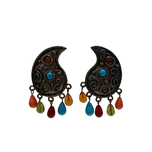 Vintage Edouard Rambaud Paisley Earrings with Stone Detailing (clip-on)