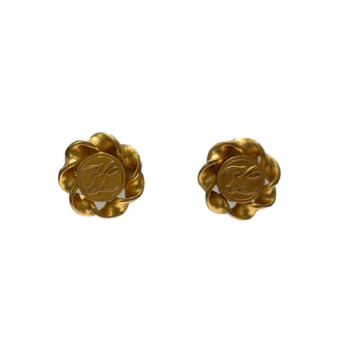 Vintage Karl Lagerfeld Gold Swirl Earrings (clip-on)