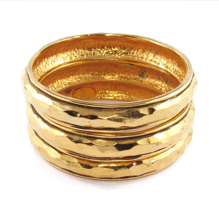 Signed Chanel gold tone bangle set c. 1980's