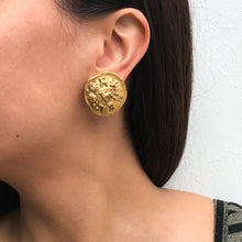 Load image into Gallery viewer, Chanel Vintage Lion Beaten Gold Tone Earrings c. 1980s (Clip-on)