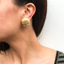 Load image into Gallery viewer, Vintage Chanel Engraved Text Polished Gold Tone & Crystal Earrings c. 1990s (Clip-on)