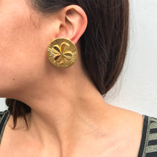 Load image into Gallery viewer, Vintage Chanel Signed Lucky Four Leaf Clover Round Gold Tone Earrings c. 1980s (Clip-on)