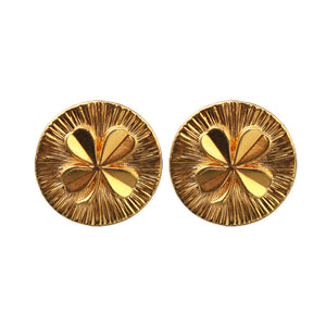 Vintage Chanel Signed Lucky Four Leaf Clover Round Gold Tone Earrings c. 1980s (Clip-on)