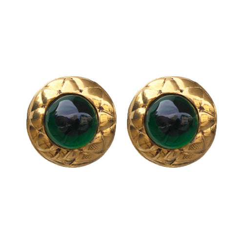Vintage Chanel Emerald Green Gripoix & Polished Criss Cross Gold Tone Earrings c. 1980s (Clip-on)