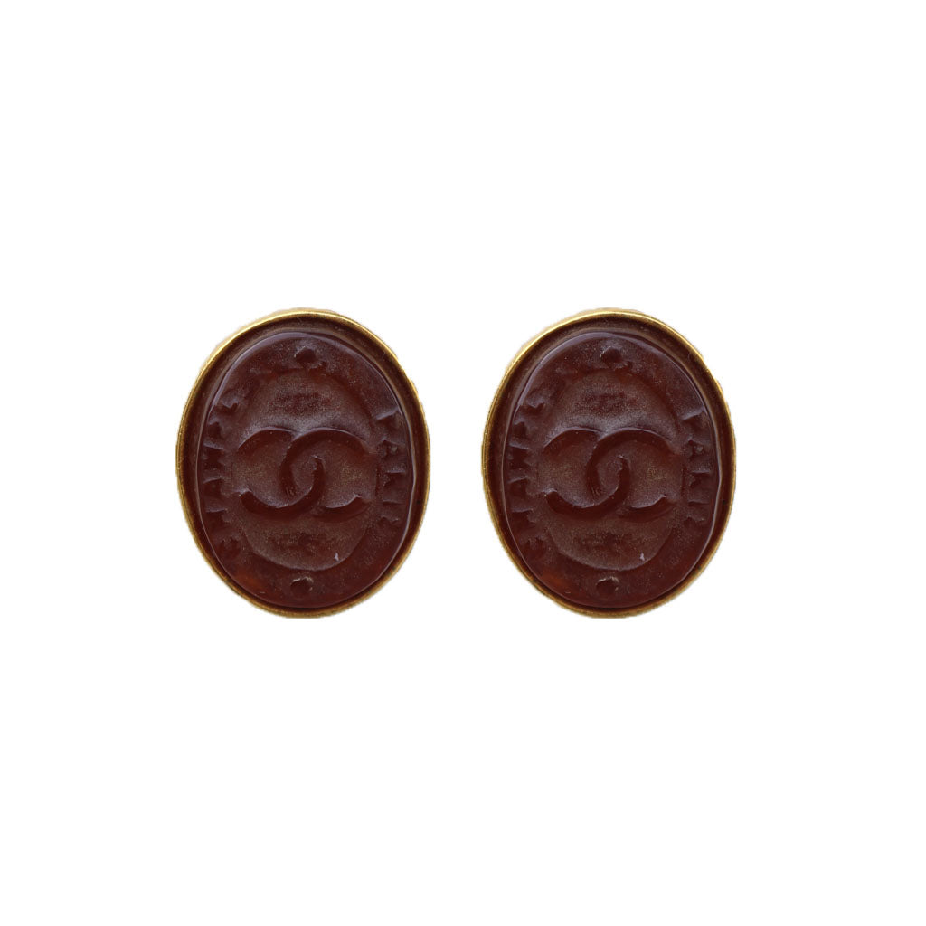 Stunning Oval Chanel Vintage Engraved CC Mahoganny Gripoix Earrings c. 1980s (Clip-on)