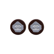 Load image into Gallery viewer, Vintage Chanel CC Silver Tone & Mahogany Earrings c. 1980s (Clip-on)