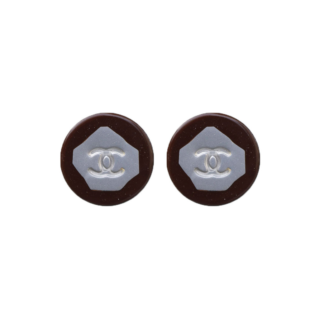 Vintage Chanel CC Silver Tone & Mahogany Earrings c. 1980s (Clip-on)