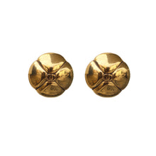 Load image into Gallery viewer, Chanel Vintage CC Four Petal Polished Gold Tone Earrings c. 1980s (Clip-on)