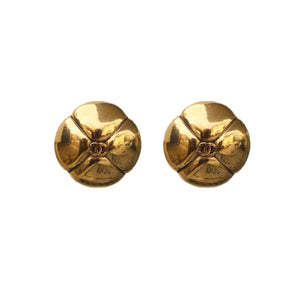 Chanel Vintage CC Four Petal Polished Gold Tone Earrings c. 1980s (Clip-on)