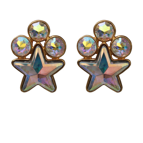 Yves Saint Laurent Signed 'YSL' Vintage Clear Crystal Star Earrings (Clip-On)