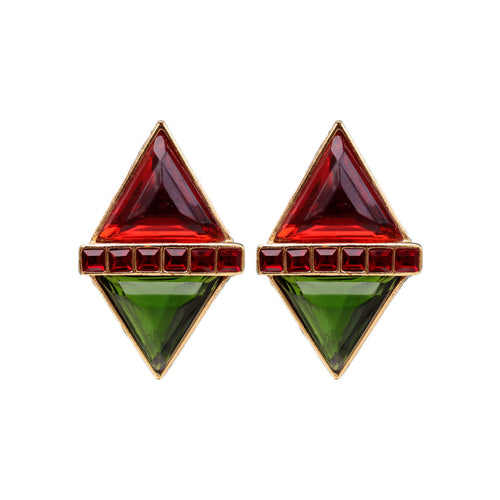 Yves Saint Laurent Signed 'YSL' Vintage Large Rare Diamond Red Green Gold Tone Earrings (Clip-On)