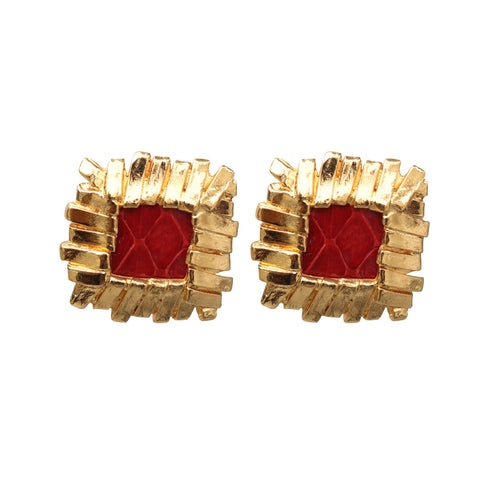 Yves Saint Laurent Signed 'YSL' Vintage Gold Tone Lattice Square Red Textured Earrings (Clip-On)