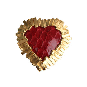 Yves Saint Laurent Signed 'YSL' Vintage Gold Tone Lattice Square Red Textured Heart Brooch-Pendant