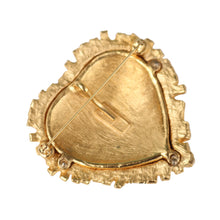 Load image into Gallery viewer, Yves Saint Laurent Signed 'YSL' Vintage Gold Tone Lattice Square Red Textured Heart Brooch-Pendant