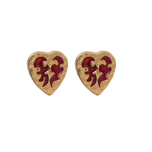Yves Saint Laurent Signed 'YSL' Vintage Gold Tone & Red Enamel Heart Earrings (Clip-On)