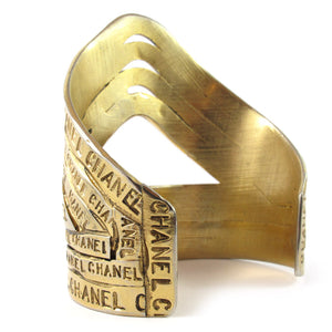 Rare and decadent vintage Chanel gold-plated cuff bracelet c. 1990s