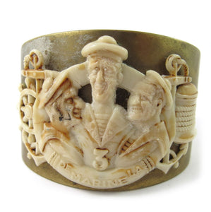 "French vintage carved galalith and brass cuff ""de Marine La' c.1930"