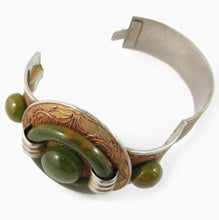 Load image into Gallery viewer, French vintage bakelite and etched metal bangle c. 1930's