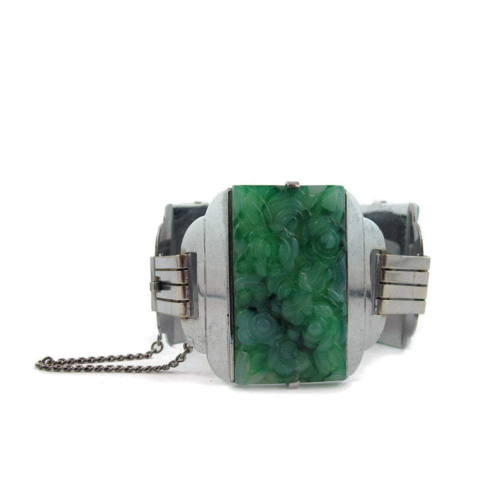 French Vintage Green Carved Galalith & Chrome Cuff c. 1930