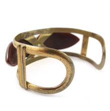 Load image into Gallery viewer, French vintage bakelite and metal cut out cuff c. 1930's