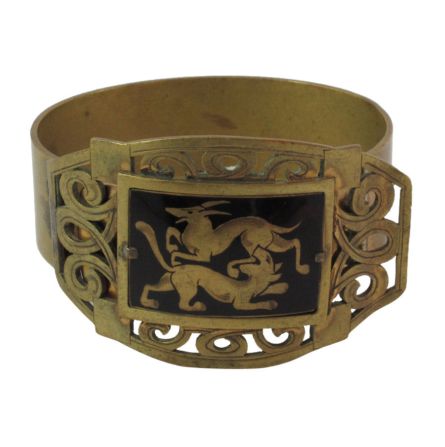 French vintage brass and enamel clamper bangle with image depicting lions c. 1930's
