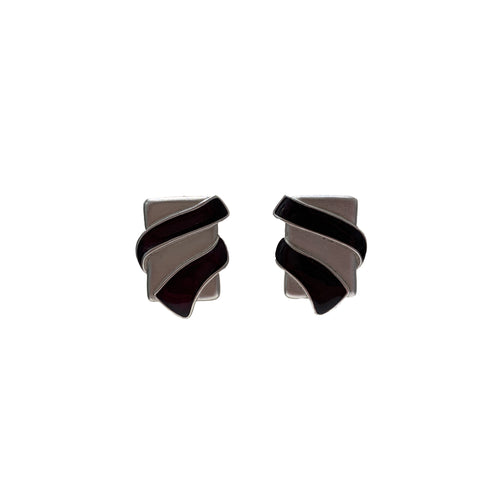 Vintage YSL Silver and Black Swirl Earrings (clip-on)