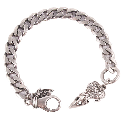 William Griffiths Curblink Bracelet with Engraved Bird Skull