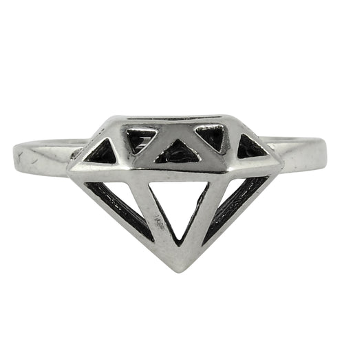 William Griffiths Sterling Silver 3D Diamond Stack Ring