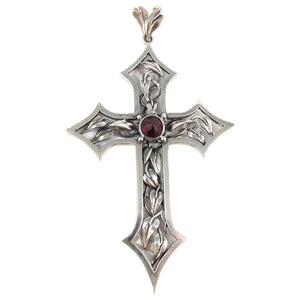 William Griffiths Sterling Silver Vine Leaf Crucifix with Blood Red Zirconia (set)