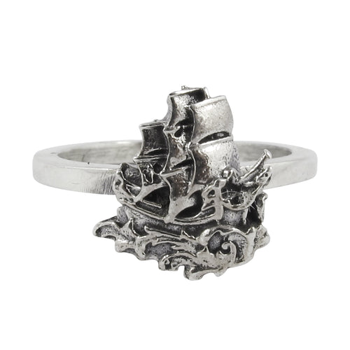 William Griffiths Sterling Silver Small Ship Stack Ring
