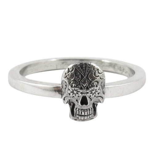 William Griffiths Sterling Silver Small Sugar Skull Stack Ring