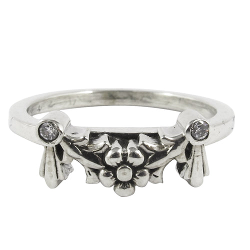 William Griffiths Sterling Silver Floral Garland and Stone Stack Ring