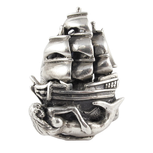 William Griffiths Sterling Silver Mermaid Ship Ring