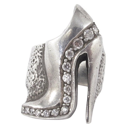 William Griffiths Sterling Silver and Crystal Heel Shoe Ring