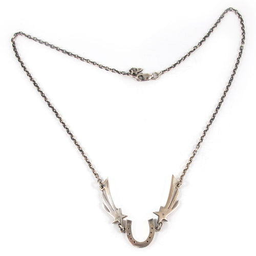 William Griffiths Sterling Silver Horse Shoe and Shooting Star Necklace
