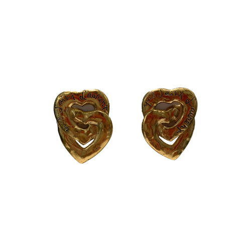 Vintage YSL Signed Heart Shaped Gold Earrings (clip-on)
