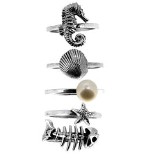 Load image into Gallery viewer, William Griffiths Sterling Silver Large Fish Bones Stack Ring